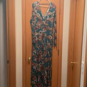 Long sleeve floral maxi maternity dress